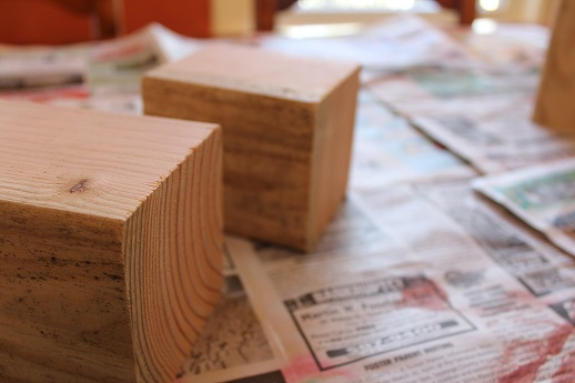 Fence Posts cut for Candlestick holders