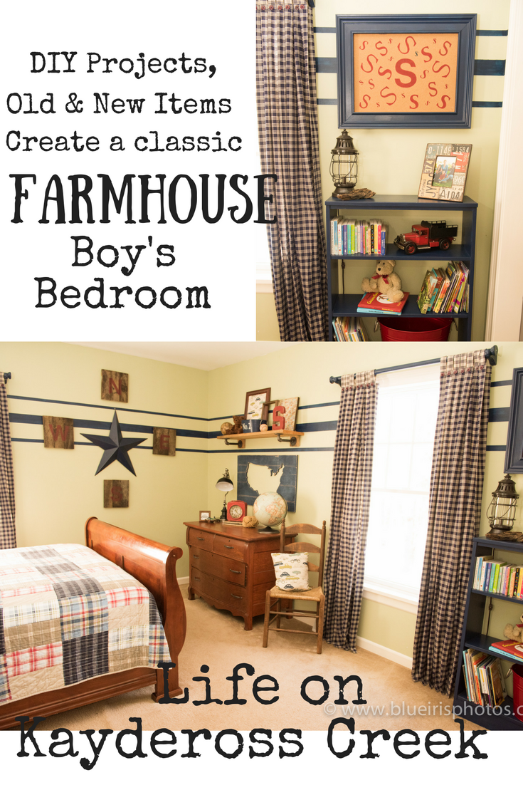 How to create a Farmhouse Boy's Bedroom with DIY projects, old and new items. Classic Boy's Room - Life on Kaydeross Creek