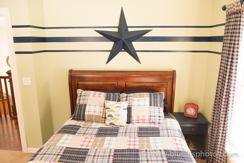 Farmhouse Boys Bedroom using classic plaids with navy and red. Life on Kaydeross Creek