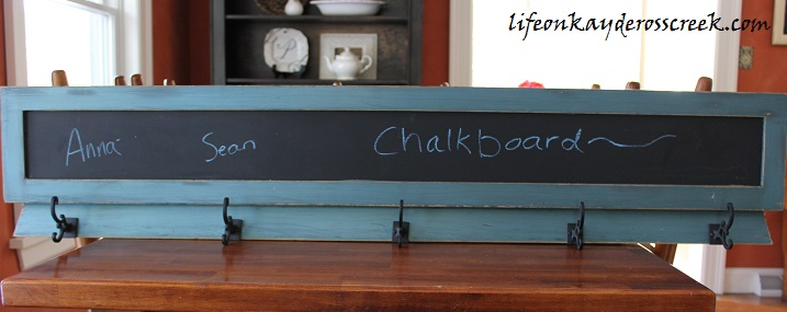 chalk board coat rack done