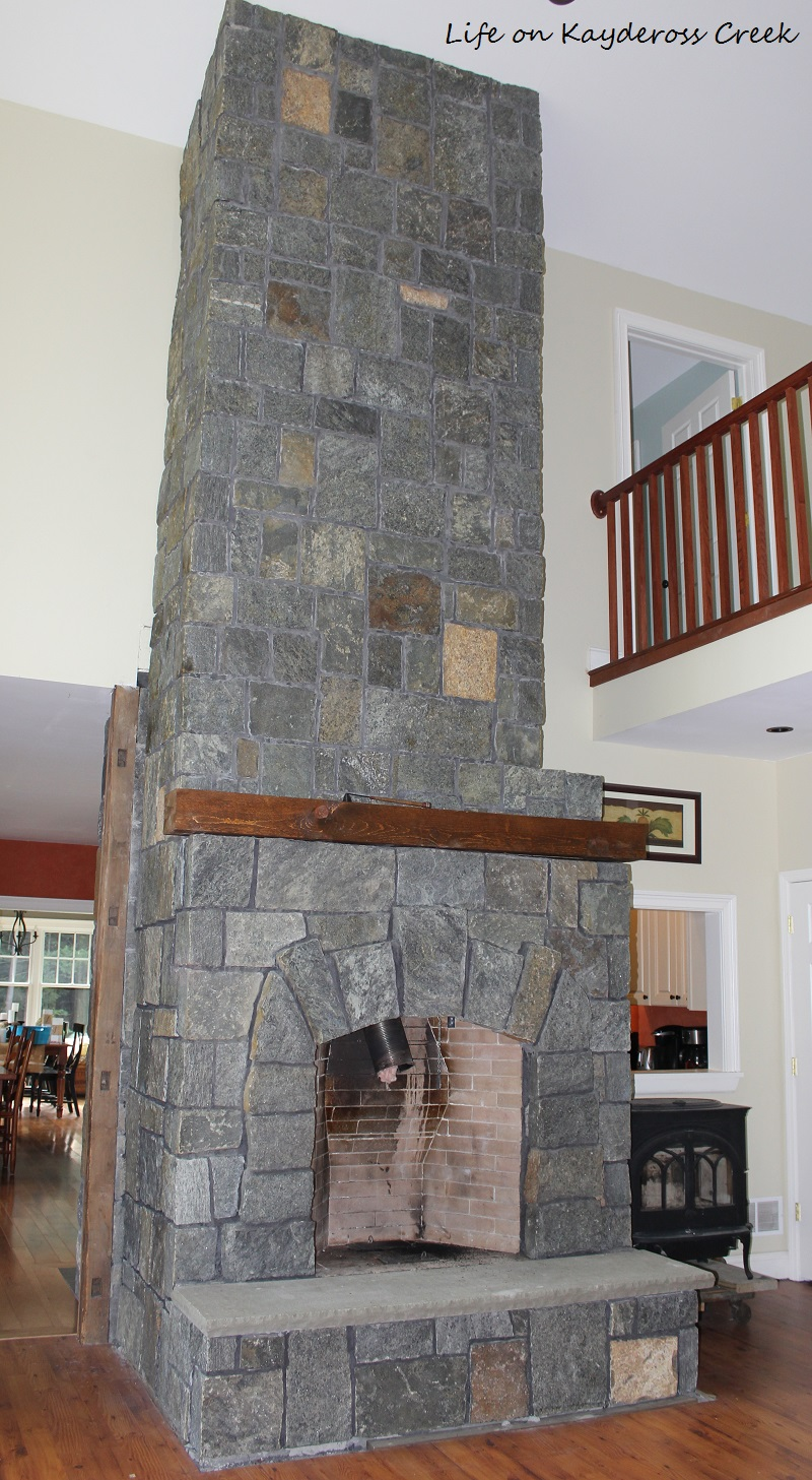 Stone Fireplace Completed using stone veneer - Life on Kaydeross Creek