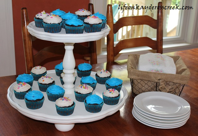 DIY Cupcake Stand made from a three tiered table - upcycle challenge - Life on Kaydeross Creek