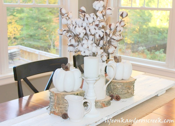 Create an easy Fall centerpiece and tablescape with this easy project. Life on Kaydeross Creek