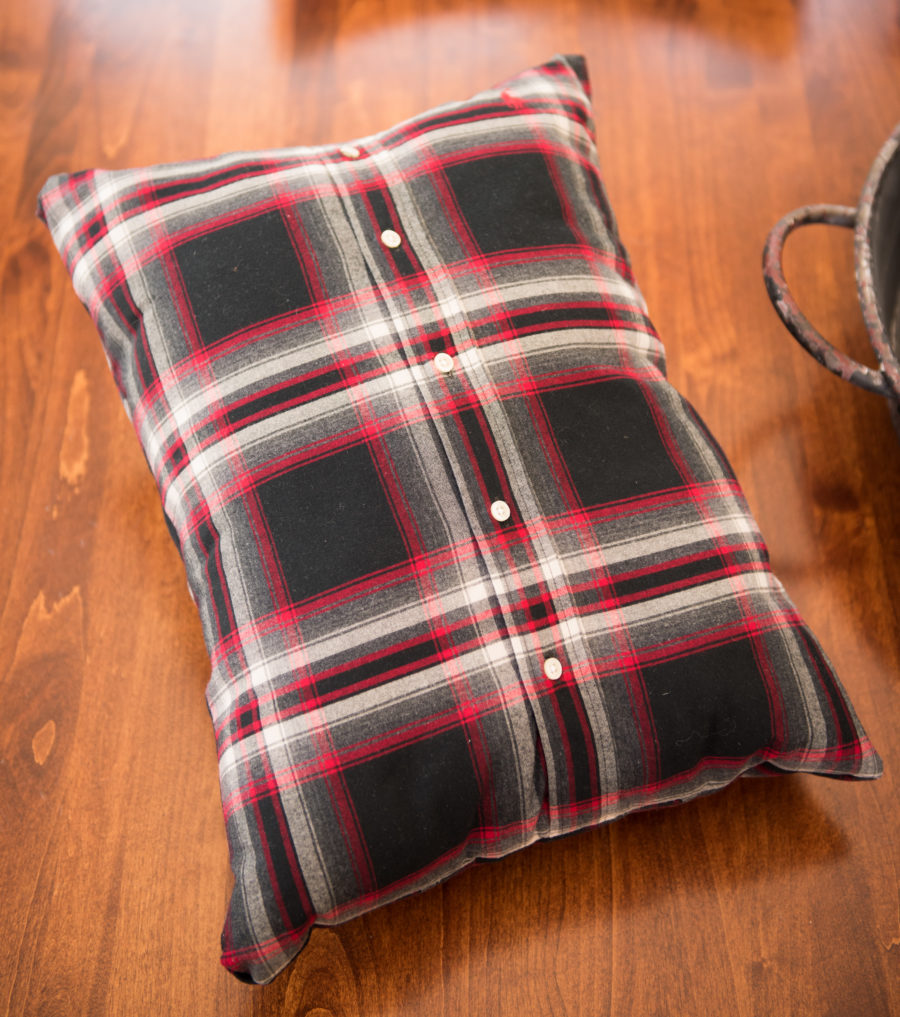 18 Ways to Decorate For Christmas on a Budget - Budget Friendly Decorating - Throw pillow made from a men's button down shirt - Life on Kaydeross Creek