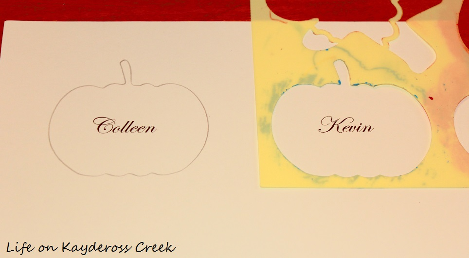 Easy Pumpkin Place Cards for Thanksgiving using Card stock and Stencils - Life on Kaydeross Creek