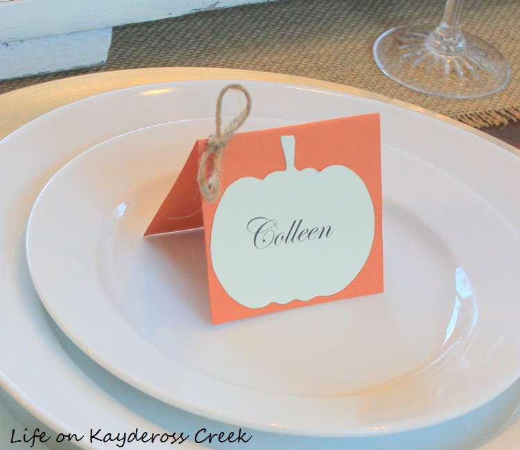 Thanksgiving Tablescape and Easy Pumpkin Place Cards by Life on Kaydeross Creek