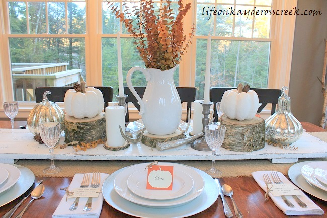 Create a unique Thanksgiving Tablescape with a few simple and inexpensive projects combined with natural elements. From Life on Kaydeross Creek
