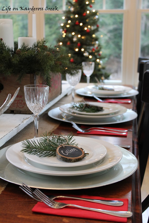 Rustic Place Setting - Christmas Tablescape - Christmas Dining Room Tour - Simple rustic touches - Life on Kaydeross Creek