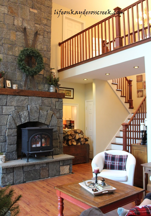 Great Room Fire Place and Stairs
