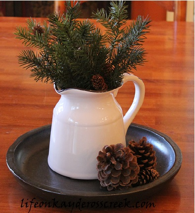 Christmas in the Kitchen, Christmas Home Tour 2015 - Life on Kaydeross Creek. Simple bits of greenery make it feel festive without feeling overdone.