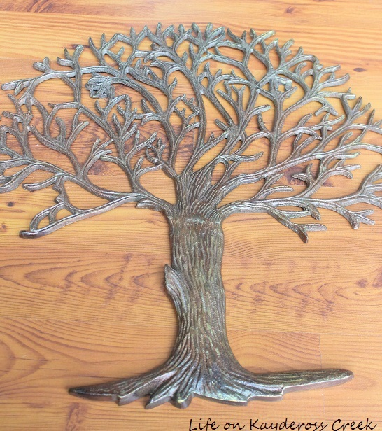 Metal decorative tree turned fixer upper inspired DIY wall art - Life on Kaydeross Creek