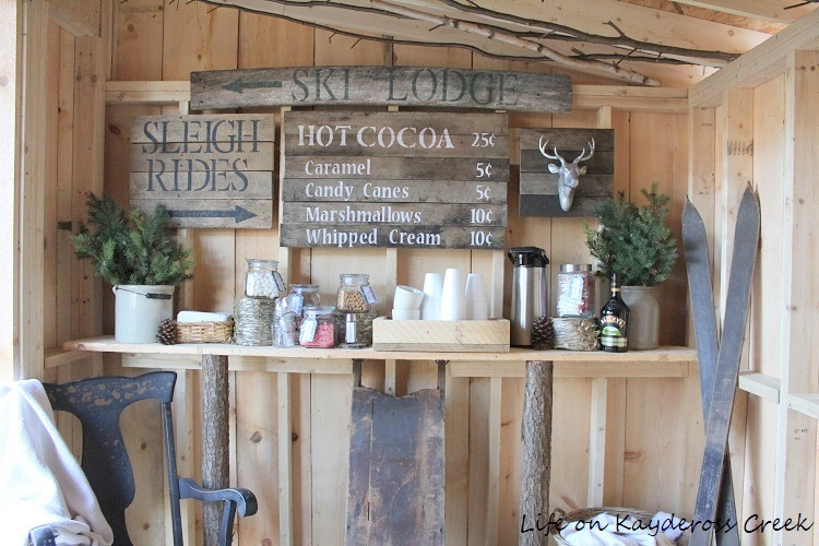 How to create the ultimate hot cocoa bar - Adirondack Style. With some simple projects and cute details