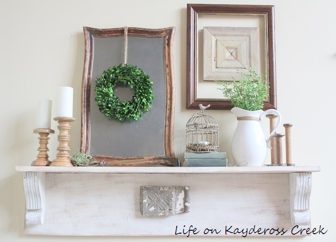 Spring Decor - Life on Kaydeross Creek - white and green make for a fresh spring look