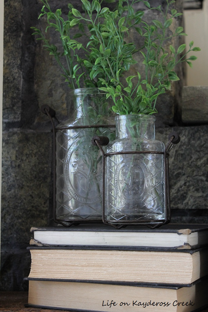 Spring Mantel Bottles
