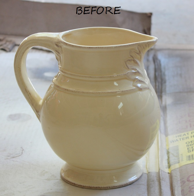 Thrift Store Decor - Pitcher before - Life on Kaydeross Creek