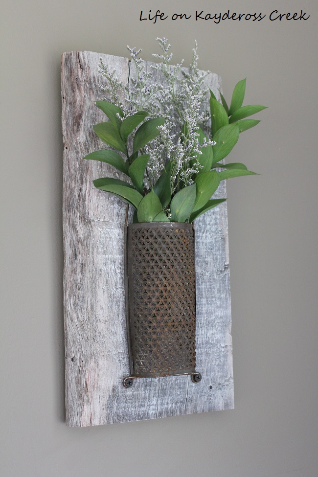 Creative ways to display flowers - Upcycle Challenge - Rustic Wall Art - Life on Kaydeross Creek