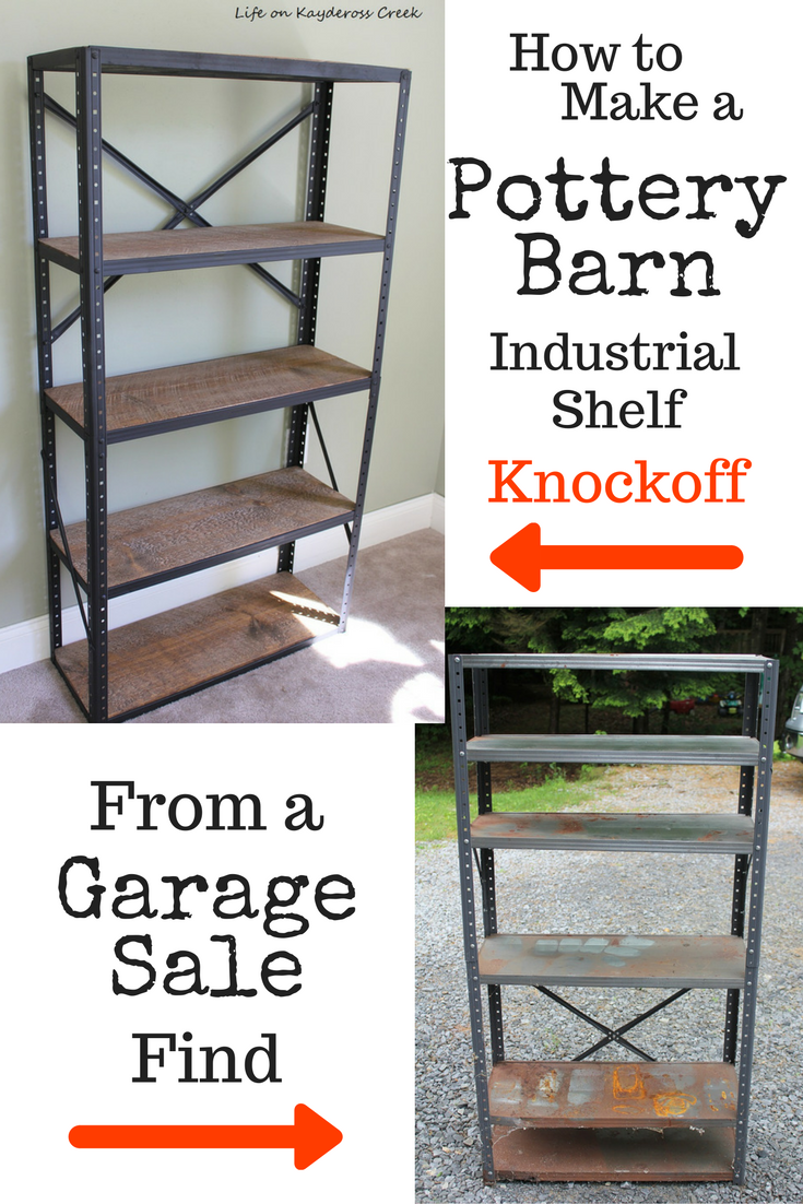 How to make a Pottery Barn knockoff Industrial Bookshelf from a garage sale find. Budget friendly project from Life on Kaydeross Creek