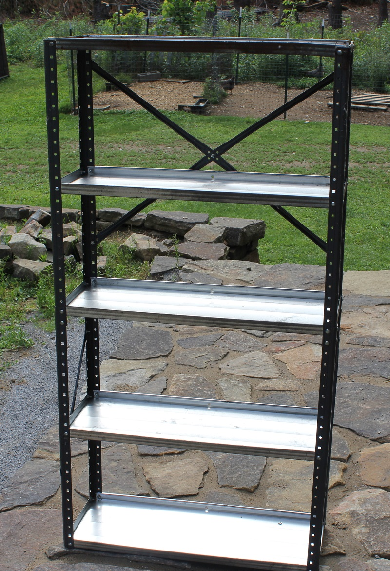 Garage Sale find metal shelf turned into Pottery Barn knockoff Industrial Bookshelf. Find out how to at Life on Kaydeross Creek