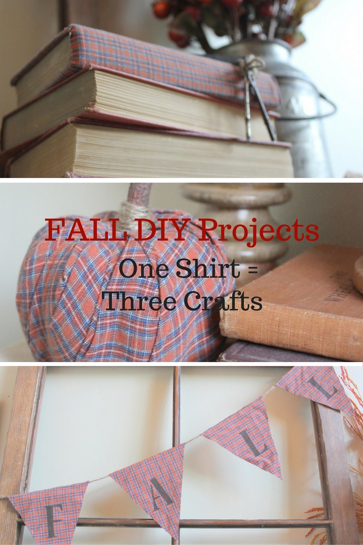 Fall DIY Projects - How to create three fall projects from one button down shirt. Unique, budget friendly fall decor.