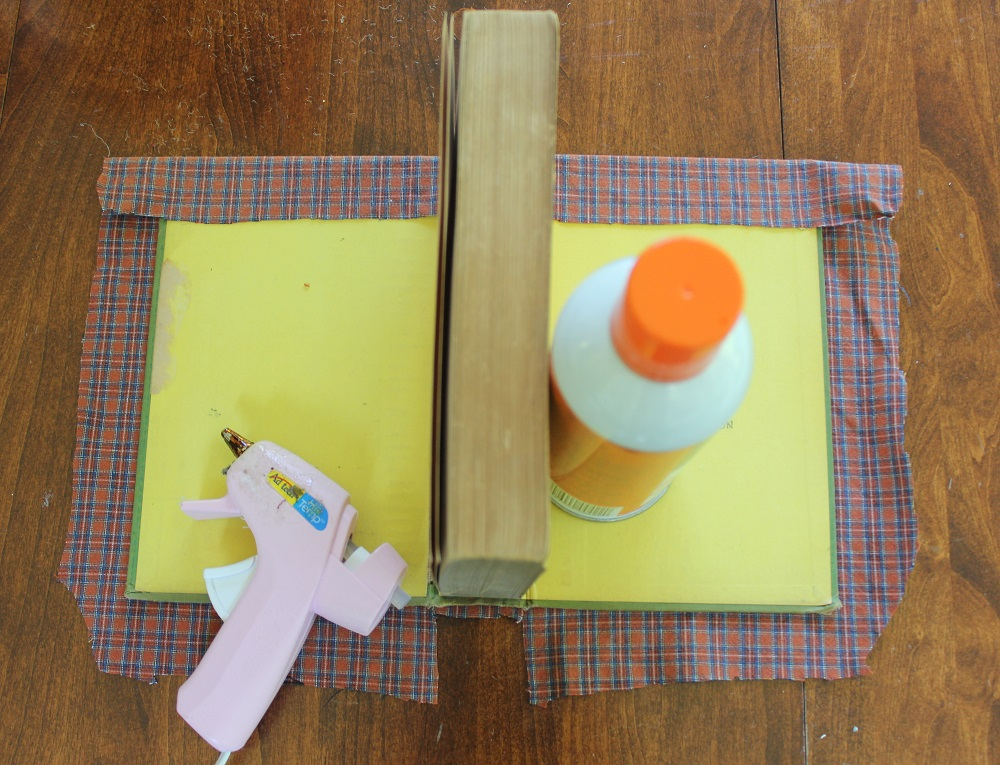 Fall DIY Projects - Plaid covered Book. A great way to use an old, unworn shirt and create unique fall decor pieces. Budget friendly too!