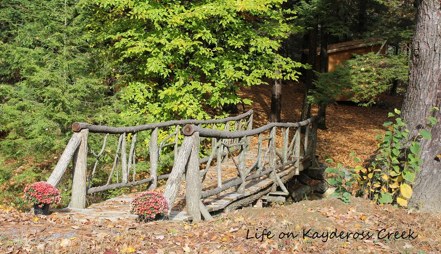 Farmhouse Fall Home Tour 2016 - Our Adirondack Bridge in the fall. Life on Kaydeross Creek