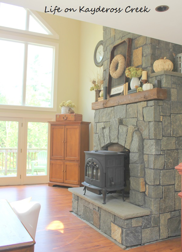 Farmhouse Fall Home Tour Stone Fireplace. Life on Kaydeross Creek