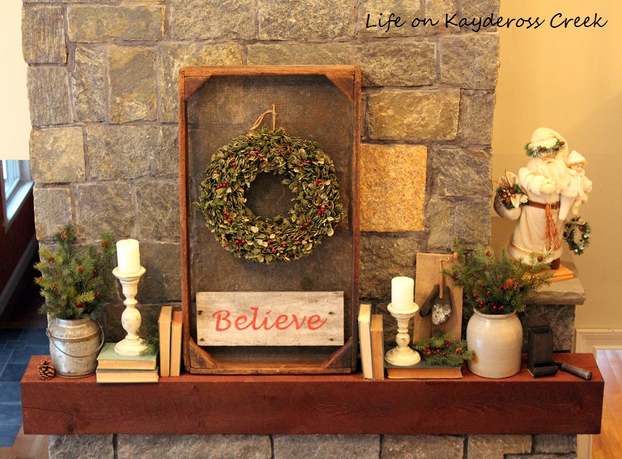 Christmas Mantel - A Very Farmhouse Christmas - Life on Kaydeross Creek