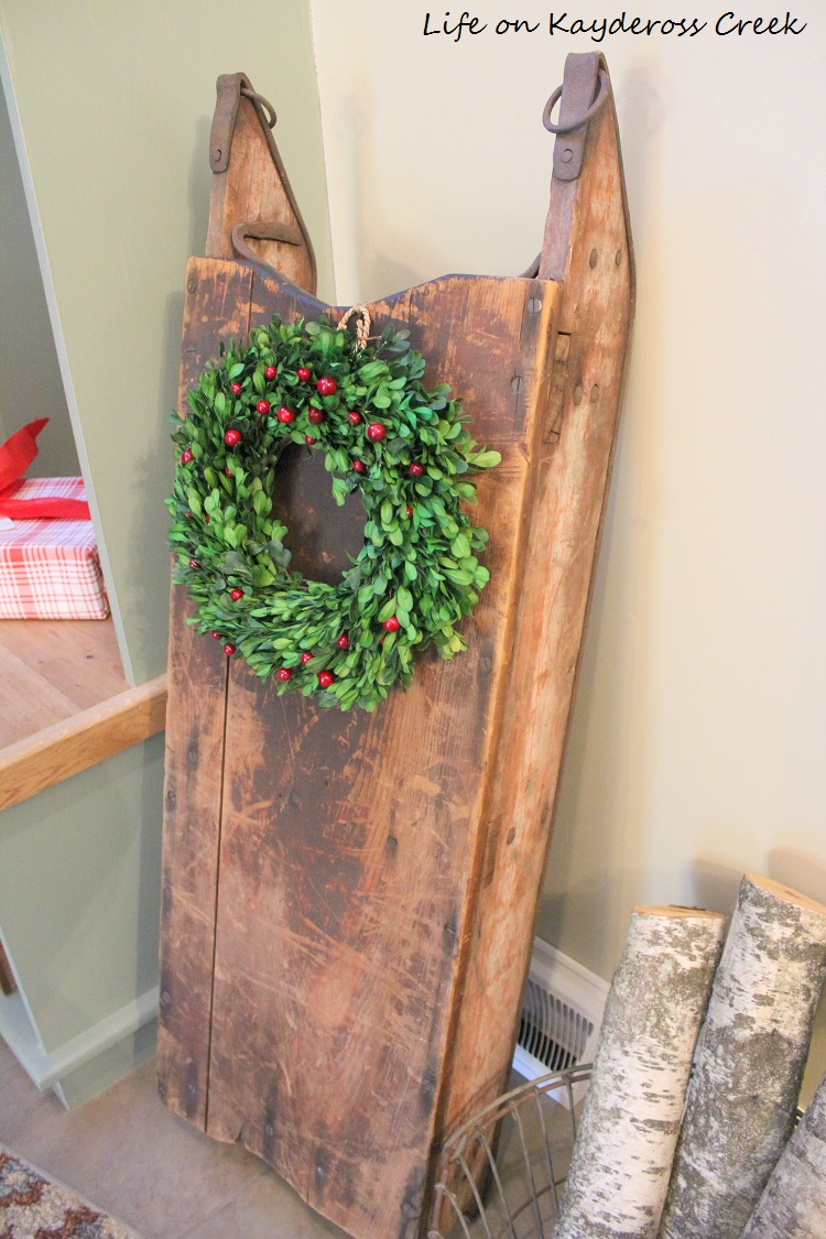 Christmas Kitchen andMudroom - sled - Farmhouse Christmas Home Tour - Life on Kaydeross Creek
