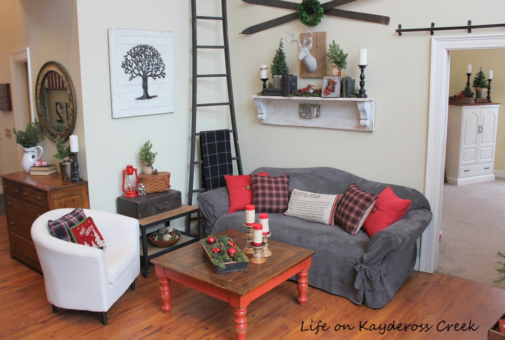 Family Room all decked out for Christmas - Farmhouse Christmas Tour - Life on Kaydeross Creek