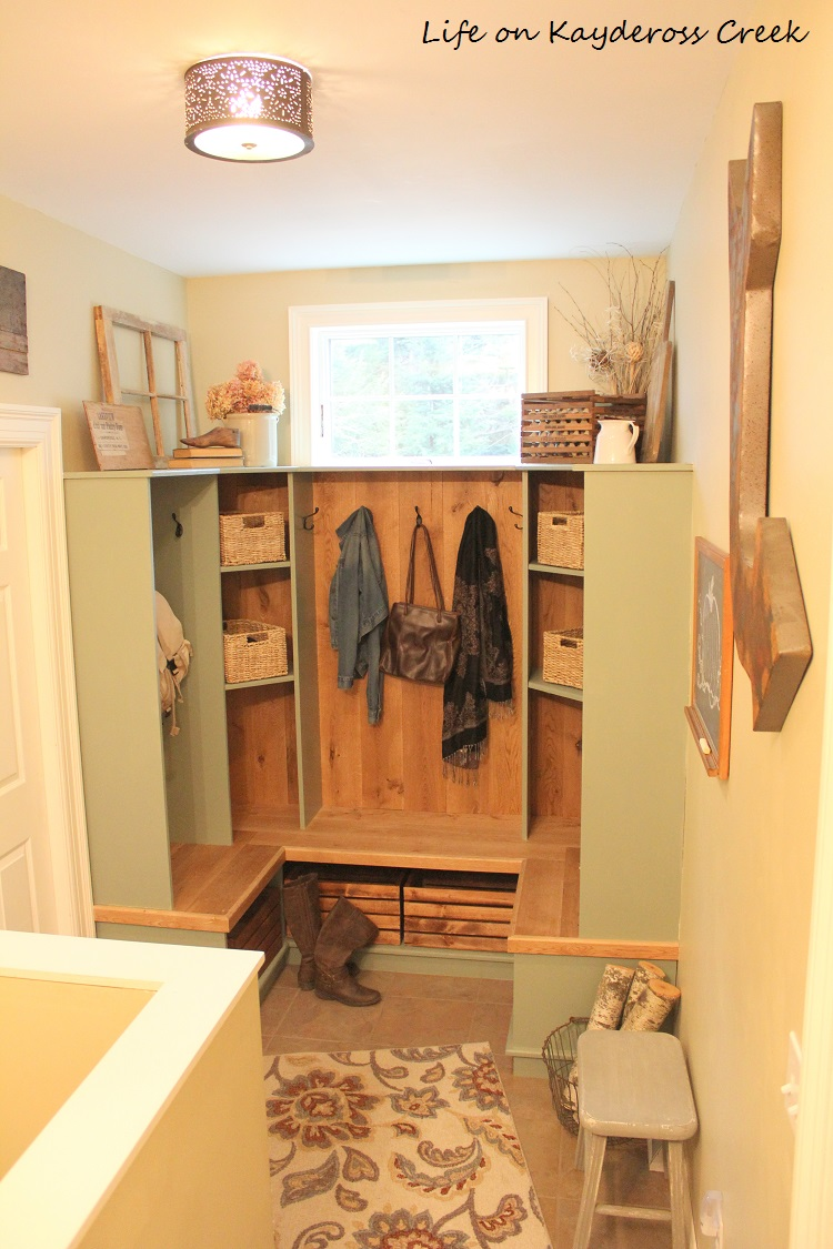 Mudroom Organization with cubbies and farmhouse touches- Life on Kaydeross Creek