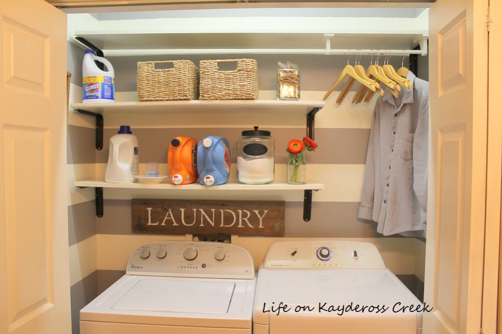 Laundry Room Organization for Under $100 - Life on Kaydeross Creek - DIY Laundry Sign