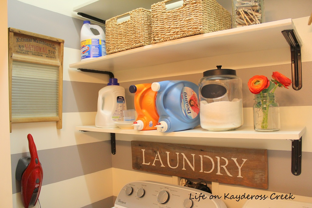 Laundry Room Organization for Under $100 - Paint and Creative DIY Project plus Farmhouse Touches - Life on Kaydeross Creek