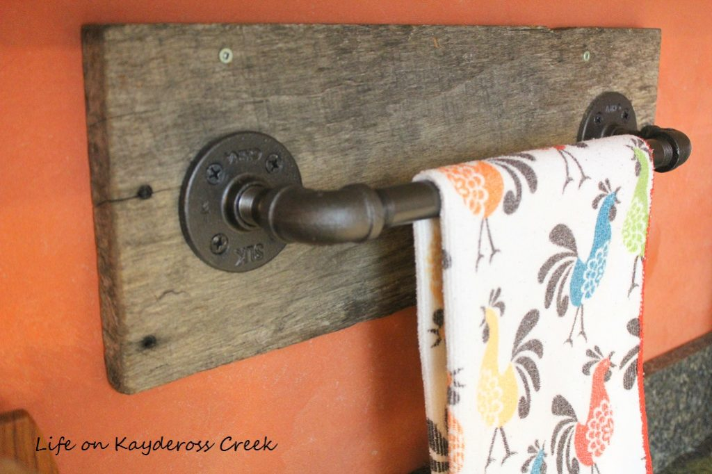 Reclaimed Wood Project Challenge - Pipe Towel Bar - Upcycle - Life on Kaydeross Creek