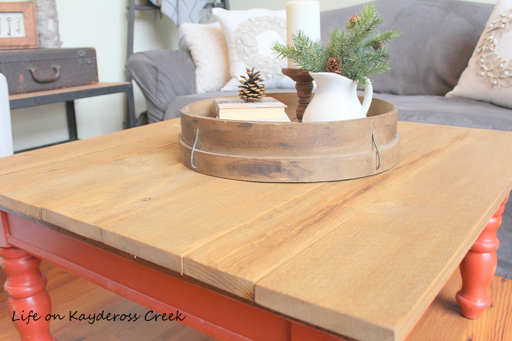 Rustic Coffee Table Makeover - with a new rough saw pine top - Life on Kaydeross Creek