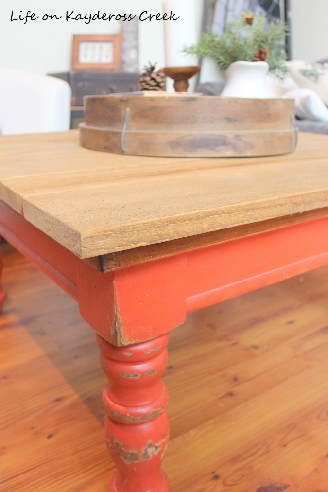 Rustic Coffee Table Makeover - Rough Saw Pine and Stain - Life on Kaydeross Creek