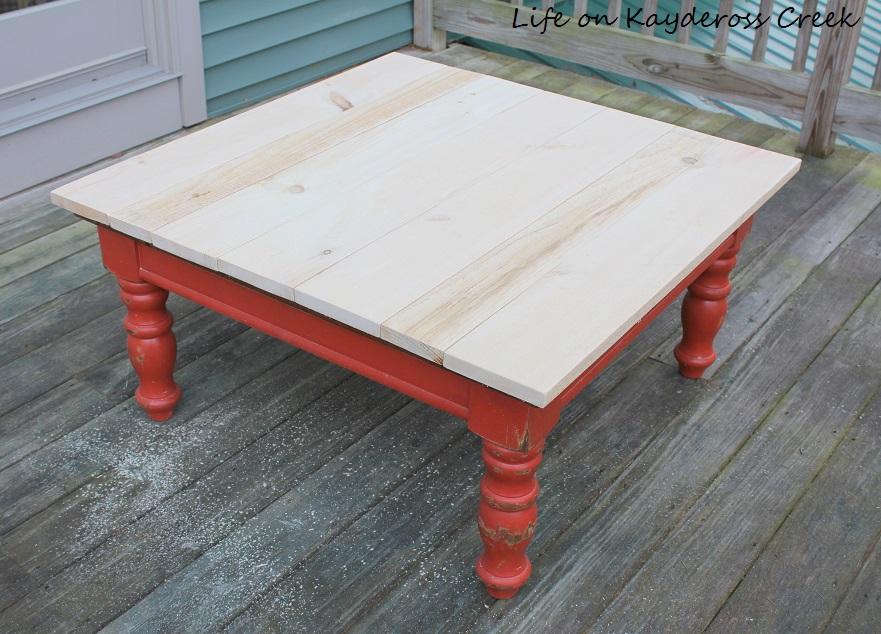 Rustic Coffee Table Makeover - New top made with rough saw pine boards - Life on Kaydeross Creek