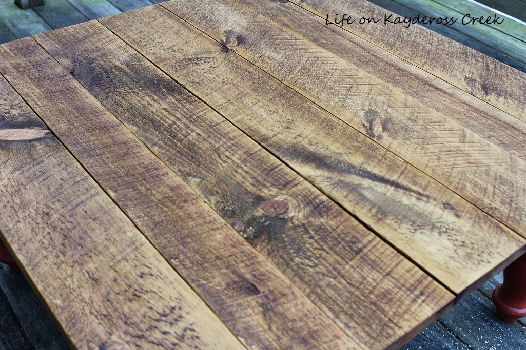Rustic Coffee Table Makeover - Rough Saw pine with character - Life on Kaydeross Creek