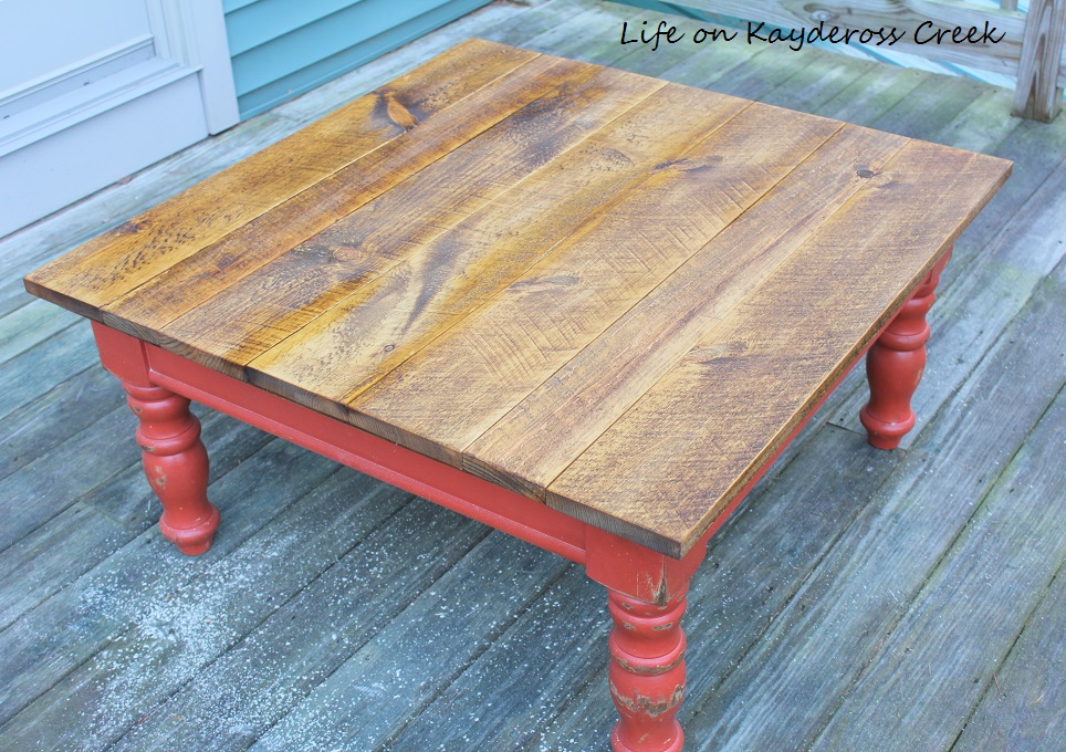 Rustic Coffee Table Makeover - Stain Completed - Life on Kaydeross Creek