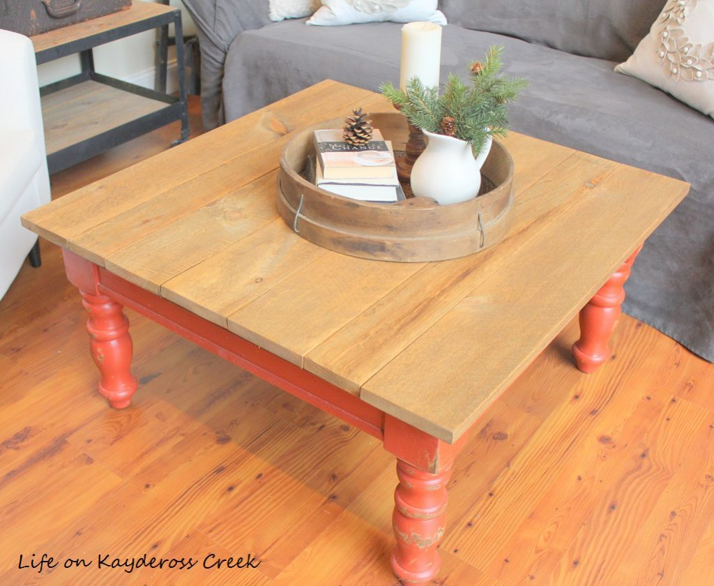 Rustic Coffee Table Makeover - With new top made from rough saw pine - Life on Kaydeross Creek