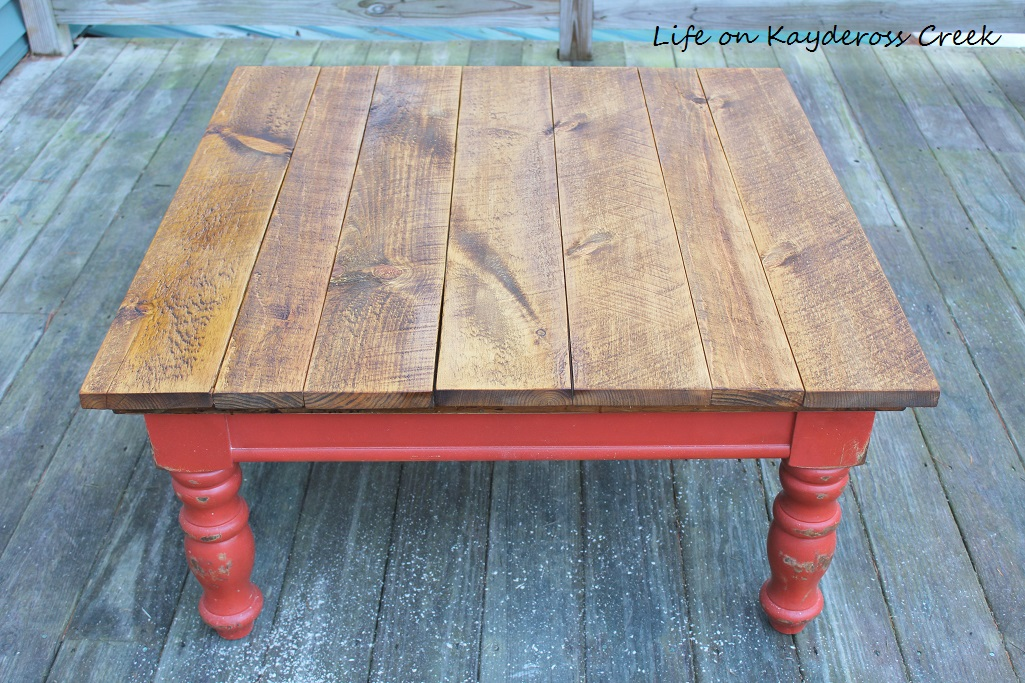 Rustic Coffee Table Makeover - coffee table after stain - Life on Kaydeross Creek