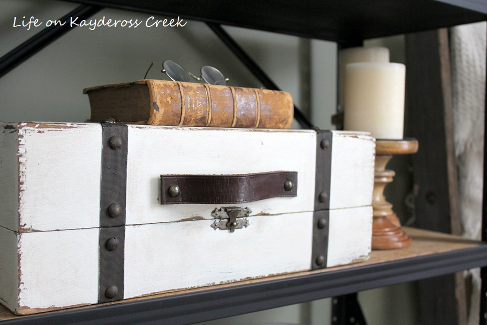 Thrift Store Upcycle - Faux Suit Case Vignette - Life on Kaydeross Creek