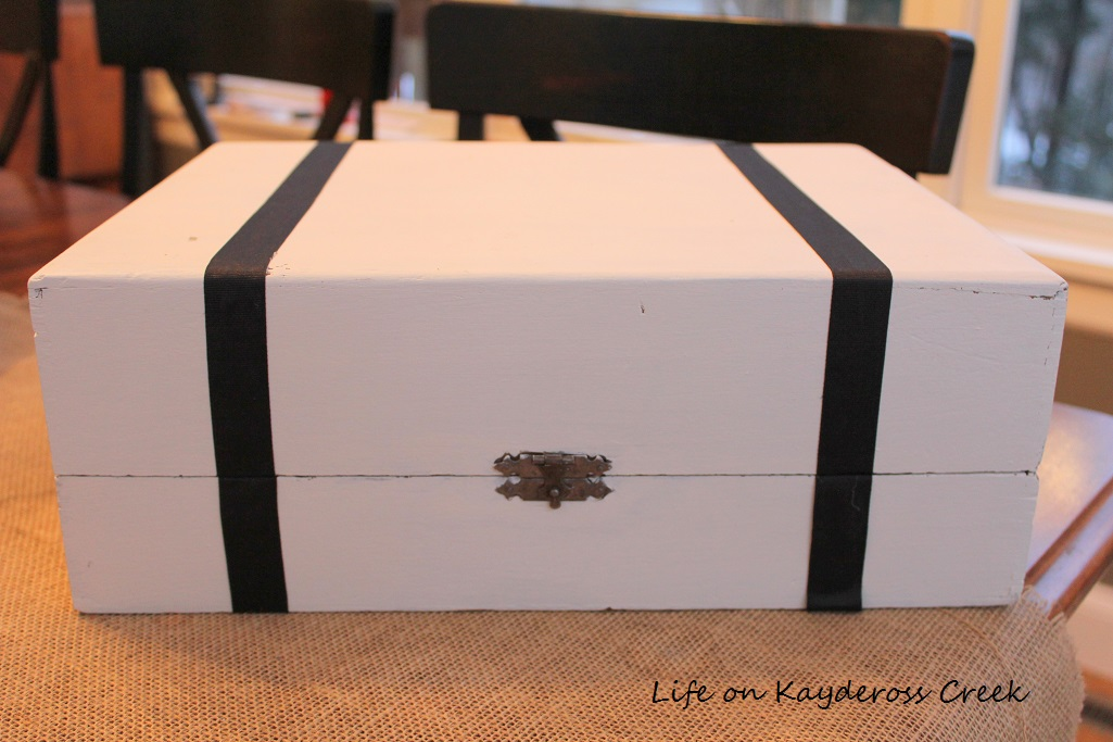 Thrift Store Upcycle - Wooden box - faux suitcase project - Life on Kaydeross Creek