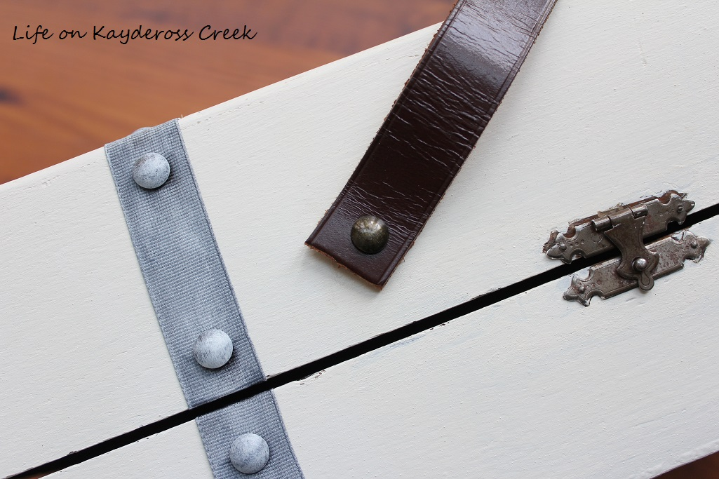 Thrift Store Upcycle - adding the leather handle - Life on Kaydeross Creek