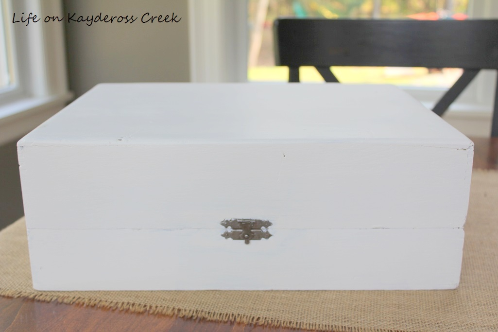 Thrift Store Upcycle project - faux suitcase decor - wooden box painted - Life on Kaydeross Creek