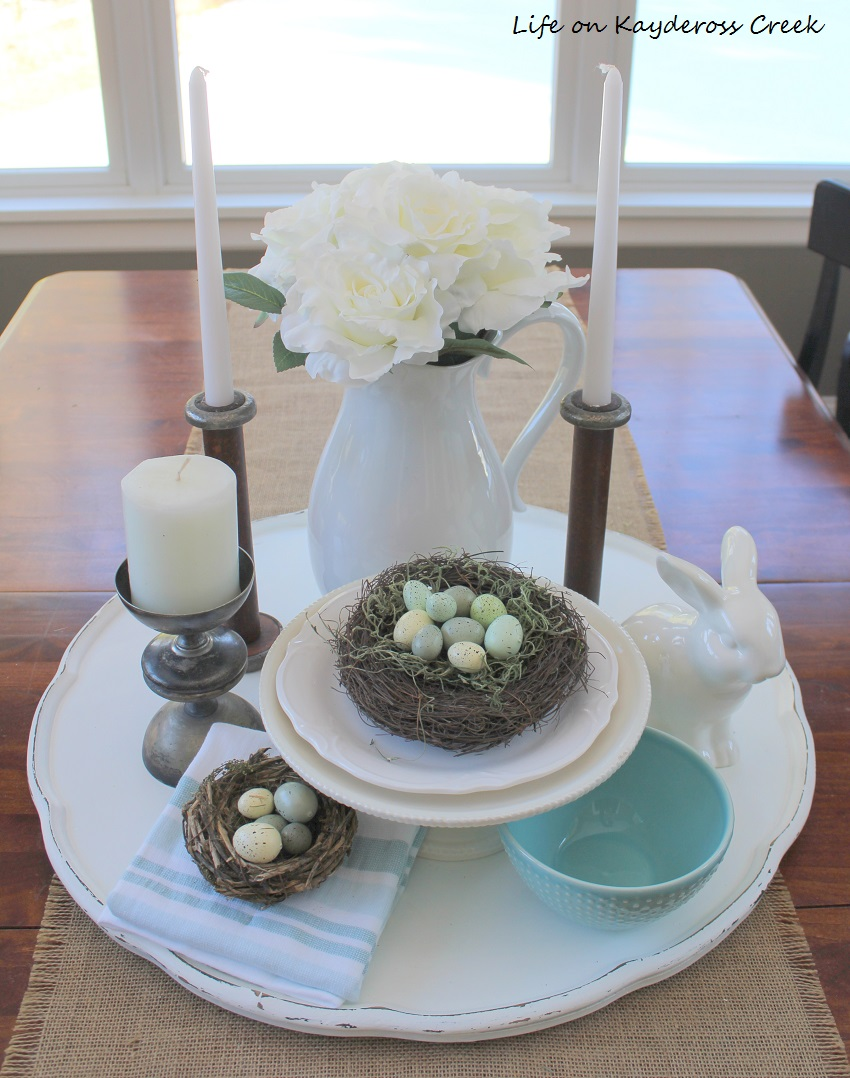 DIY tray made from a three tiered table - vignette- upcycle challenge - Life on Kaydeross Creek
