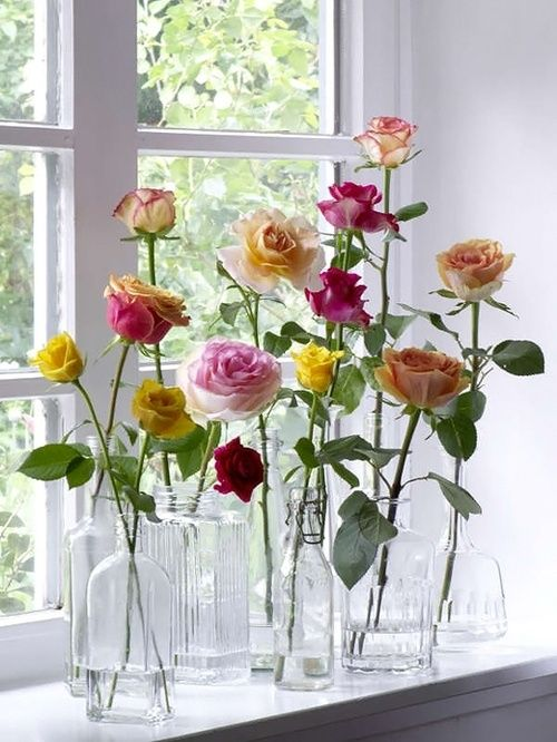 Creative Ways to Display flowers - Single glass bottles - Life on Kaydeross Creek