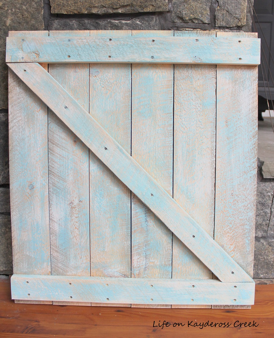 Spring Decor - Making a mini barn door - blue wash - Life on Kaydeross Creek