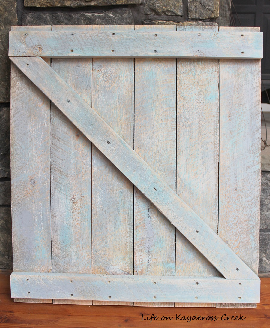 Spring Decor - Making a mini barn door - graywash added - Life on Kaydeross Creek