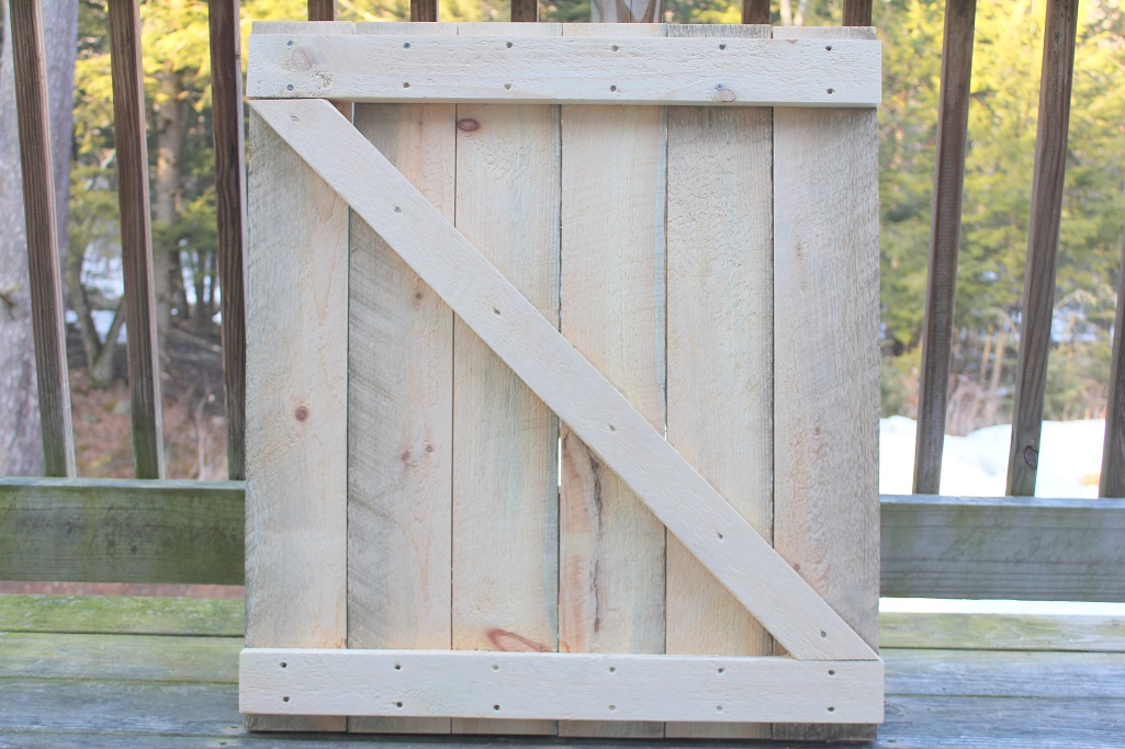 Spring Decor - Making a mini barn door - raw wood - Life on Kaydeross Creek