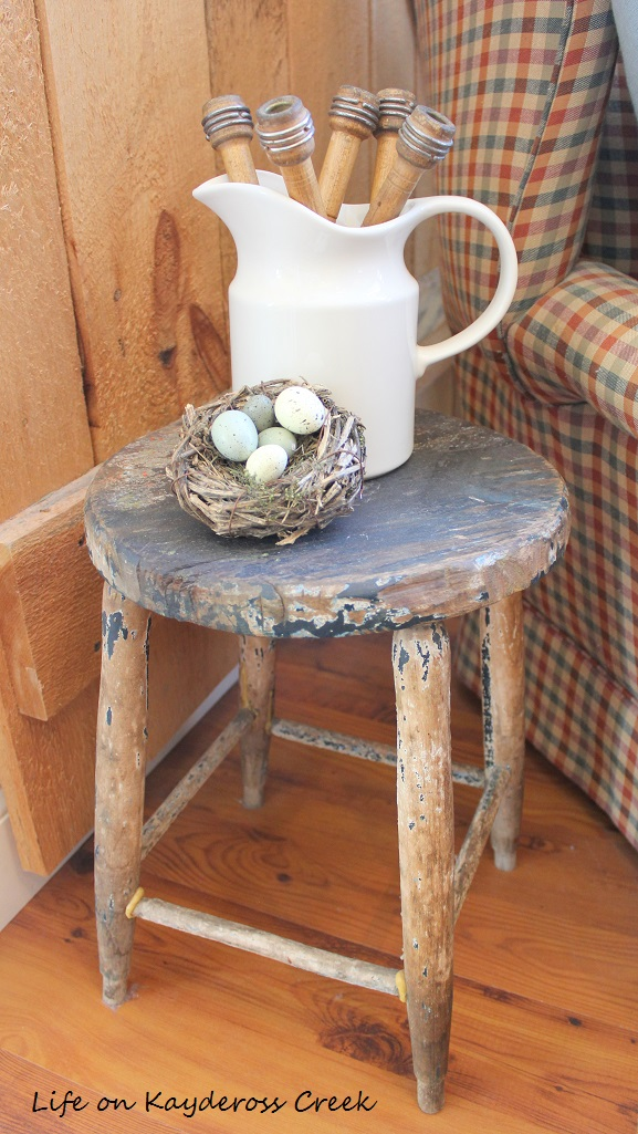Farmhouse - Spring Home Tour 2017 - Family Room - Antique Stool - Life on Kaydeross Creek